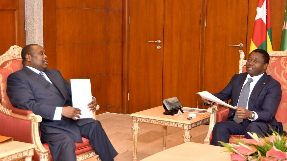 Le Président de la République SEM Faure Essozimna Gnassingbé a reçu, ce 04 septembre 2019 à Lomé, M. Jean Jacques Bouya, ministre congolais de l'Aménagement, de l'équipement du territoire et des grands travaux.