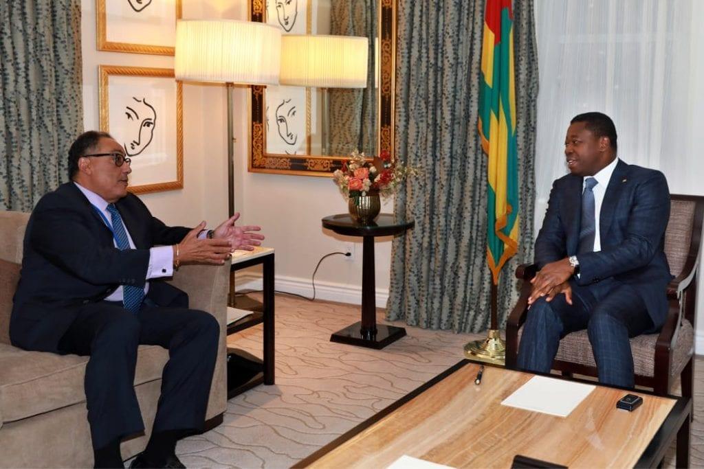 En séjour à New York dans le cadre de la 74è session de l'Assemblée générale des Nations unies, le Président de la République SEM Faure Essozimna Gnassingbé s'est entretenu, ce 25 septembre 2019, avec M. Mafex Ghanem, Vice-président de la Banque mondiale pour l'Afrique.
