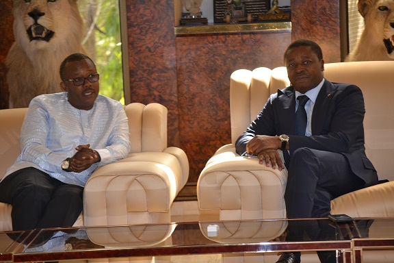 Le Président de la République SEM Faure Essozimna Gnassingbé a reçu, ce 16 janvier 2020 à Pya (préfecture de la Kozah), le nouveau Président élu de la Guinée Bissau SEM Umaro Sissoco Embalo.